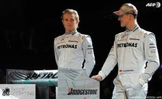 The comeback of the Mercedes silver arrows, the comeback of the most successful drivers in the history of Formula 1: Michael during the presentation of the new Mercedes GP Petronas Formula 1 team on January 25, 2010, together with current world champion Nico Rosberg. Ross Brawn, his friend from the old days at Benetton and Ferrari, has brought the seven-time world champion out of his three year retirement.  #TeamMichael #KeepFighting