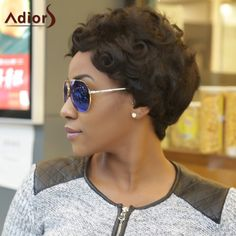 Pixie Cut Adiors Ultrashort Curly Fluffy Synthetic Wig #shoes, #jewelry, #women, #men, #hats