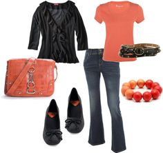 """Coral and Charcoal"" by shellydiaz on Polyvore"