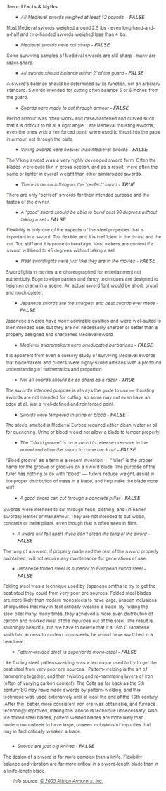 Sword Facts and Myths - Writing Reference