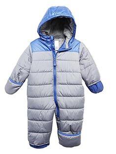 9a047ecd1 Carters Infant Boys Gray Blue Quilted Snowsuit Baby Pram Snow Suit ***  Click image