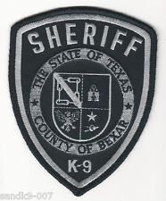 Subdued Patch K-9 Unit BEXAR Police State of TEXAS Police K9 Shoulder Patch TX