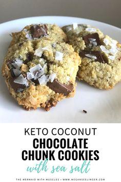 Coconut Chocolate Chunk Cookies with Sea Salt- Low Carb Keto Cookies
