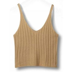 Choies Khaki V-neck Spaghetti Strap Knit Crop Top (47 RON) ❤ liked on Polyvore featuring tops, khaki, beige top, knit tops, v neck knit top, khaki top and v neck crop top