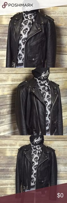 FINAL HOURS🔥CLOSET CLOSING🔥Discounted Shipping Genuine Leather Moto Jacket Outer shell: 100% Leather Lining: 100% Nylon Padding: 100% Polyester Black Multiple interior & exterior pockets Shoulder strap Accent Zip cuff style Gun metal hardware  New Age Leather Wear Collection EUC New Age Leather Wear Collection Jackets & Coats