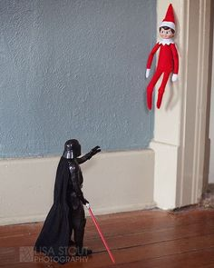 Star Wars Elf on the Shelf Ideas: 45 Ways Help Your Elf use The Force - BabySave. : elf on the shelf Your young ones enjoy their elves on the corner, and you like them for hot him. These small child Mcpherson Kansas, L Elf, Awesome Elf On The Shelf Ideas, Elf On The Self, Naughty Elf, Buddy The Elf, Christmas Elf, Christmas Ideas, Funny Christmas