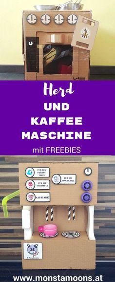Basteln mit Karton, Kaffeemaschine basteln, DIY Kaffeemaschine, Karton Kaffeemaschine, Karton Herd, Karton Spielküche, Spielküche basteln