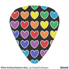 White Outlined Rainbow Hearts Guitar Pick