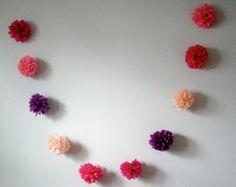 Guava Pop ... diy tissue paper pom garland // wedding reception // birthday // eco party decorations. $20.00, via Etsy.