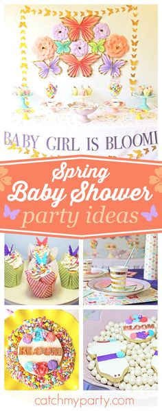 Don't miss this bright and cheerful Spring baby shower. The dessert table and backdrop are gorgeous! See more party ideas and share yours at CatchMyParty.com