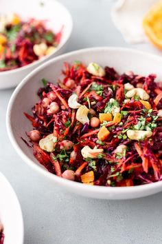 Winter Carrot & Beetroot Salad - Cupful of Kale - Vegan Beetroot Carrot Winter Salad - Beetroot Recipes Salad, Winter Salad Recipes, Superfood Recipes, Raw Food Recipes, Vegetarian Recipes, Healthy Recipes, Salad Recipes Vegan, Beetroot And Carrot Salad, Kale Recipes