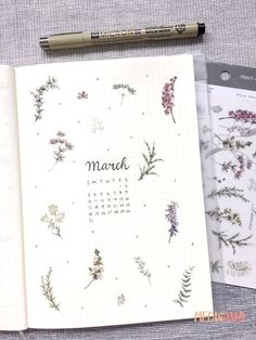 MU print-on sticker - Botanical Garden - Bullet journal March cover - March Bullet Journal, Bullet Journal Cover Page, Bullet Journal Aesthetic, Bullet Journal Notebook, Bullet Journal Themes, Bullet Journal Spread, Bullet Journal Inspiration, Bullet Journals, Bullet Journal With Stickers