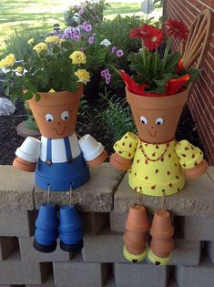 Hobbies paining body for kids and adult Flower Pot Art, Clay Flower Pots, Flower Pot Crafts, Flower Vases, Clay Crafts For Kids, Clay Pot Crafts, Diy Clay, Flower Pot People, Clay Pot People