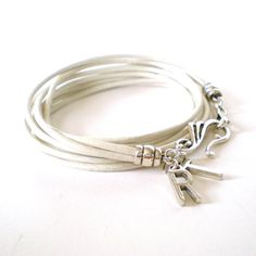 white leather wrap bracelet intial charm bracelet by jcudesigns, £13.00