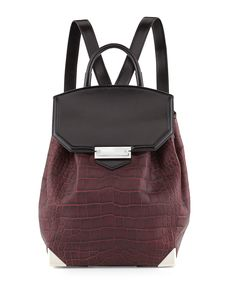 Alexander Wang Prisma Croco-Embossed Flat-Bottom Backpack, Beet - Bergdorf Goodman