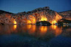 Vouliagmeni by night, Athens Riviera, Greece