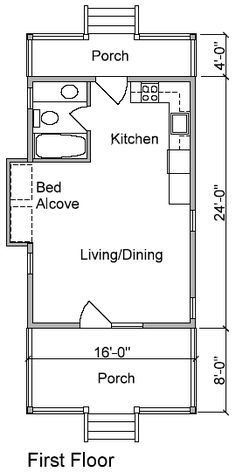 Cabin Plan and Blueprint - CV-384 Pine Lodge 1 **move the bed alcove down near the front door (fireplace?) move the kitchen(smaller?) and bathroom at least 4' in (maybe 8) for a cat room, enclose porch for cats and maybe outside pen?