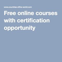 Free online courses with certification opportunity - Online Courses - Ideas of Online Courses - Free online courses with certification opportunity Best Online Courses, Free Courses, Tips Online, Online College Degrees, College Courses, Education College, Education Sites, Free Education, College Tips
