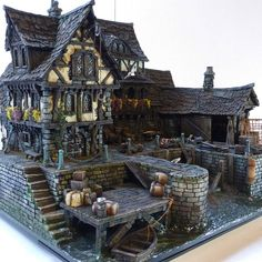Hi everyone, I had so much fun last month making my first house out of cardboard when I created the San Francisco House that I wanted to… – BuzzTMZ Fantasy Town, Fantasy House, Building Concept, Building Design, Dock House, Hirst Arts, Minecraft Medieval, Warhammer Terrain, San Francisco Houses