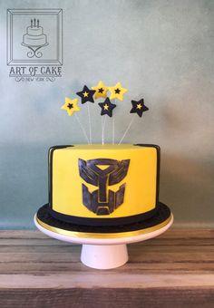 4th Birthday Boys, Lego Friends Birthday, 7th Birthday Cakes, Baby Birthday, Bumble Bee Transformer Cake, Bumble Bee Cake, Transformer Birthday, Transformers Cake Bumblebee, Transformers Birthday Parties