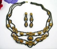 HONEY-YELLOW-BLACK-RHINESTONE-Necklace-Clip-On-Earring-SET-Vintage-Statement WOW!!  $0.99 Start Price ON EBAY!!