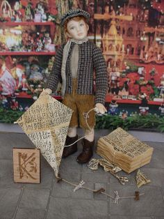 K IS FOR KITE FROM NEWSPAPER AND STICKS. Beautiful miniature!