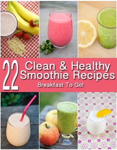 Breakfast has never been so healthy or so easy to take with you! 22 clean and healthy smoothie recipes from www.TheGraciousPantry.com