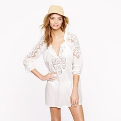 Embroidered rope tunic/. Embroidery, white cotton, peasant tunic, all loves, all together here.