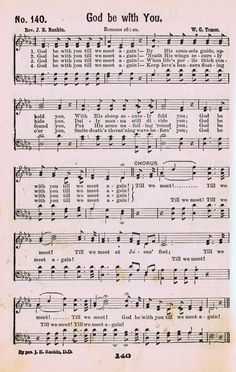 God Be With You - Antique Hymn Book Page  ~~shared by KnickofTimeInteriors.blogspot.com