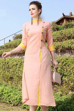 Light-Peach-Fashionable-Occasional-Outfit-Rayon-Long-Plain-Length-Kurti-4004-7275 #wholesalekurtis #wholesalekurtissupplier #kurtisdealers #kurtiexporters #kurtimanufacturer #kurtistockist #stylish #festivalwear #eventwear #dailywear #surattextilemarket #bulksupplier #kurtidistributor #lkfabkart