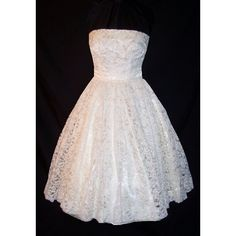 Vintage 60's Strapless Lace Full Circle Wedding Party Dress S found on Polyvore // One just like this in silver, to wear with my blue heels.