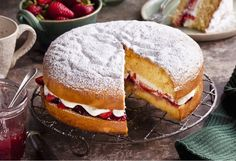Turn your afternoon tea time into a special occasion with this strawberry and cream sponge cake High Tea Food, Jaffa Cake, Vanilla Sponge Cake, Sponge Cake Recipes, Strawberry Recipes, Strawberry Jam, Strawberries And Cream, Tea Recipes, Along The Way