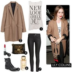 Lily Collins - recrie o look | 1. T-shirt Pull&Bear. 2. Casaco Zara. 3. Batom MAC Cosmetics. 4. Carteira Brahmin. 5. Botas Rockport. 6. Perfume Boucheron. 7. Calças H&M. | Mini Saia