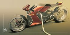 Electric motorcycle sketch by Yung Presciutti, via Behance