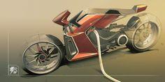 Electric motorcycle sketch by Yung Presciutti, via Behance