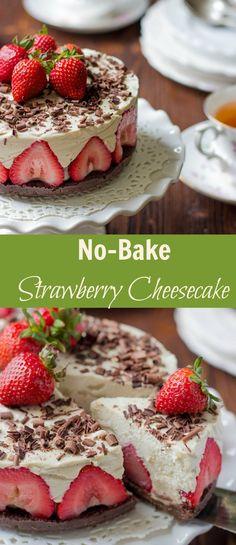 No-Bake Strawberry Cheesecake via @https://www.pinterest.com/lavenderandmcrn/