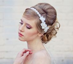 Wedding Flower Headband Pearl Tie Headpiece for by BeSomethingNew, $42.00