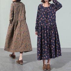 Petite impression à manches longues robe à fleurs, Loose Fitting Dress, Plus Size robe de coton, linge vêtements, tuniques pour femmes