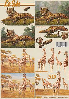 Le Suh Cut out sheet anistencils nr. Art Deco Cards, Animal Cutouts, 3d Sheets, Rainbow Loom, Diy Cards, Pattern Wallpaper, Paper Flowers, Giraffe, Decoupage