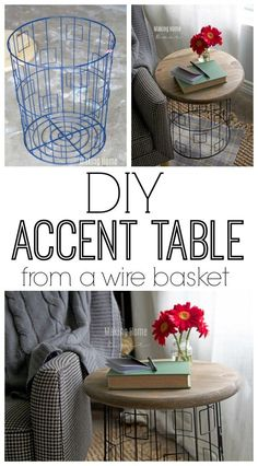 This awesome accent table is just a wire laundry basket with a wood top. See how you too can make a trendy industrial chic accent table for super cheap!