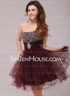 Cocktail Dresses - $109.99 - A-Line/Princess Strapless Short/Mini Satin Tulle Cocktail Dresses With Ruffle Beading (016013978) http://jenjenhouse.com/A-line-Princess-Strapless-Short-Mini-Satin-Tulle-Cocktail-Dresses-With-Ruffle-Beading-016013978-g13978