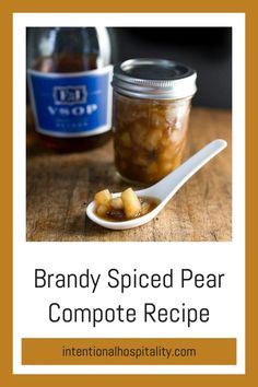 This Brandy Spiced Pear Compote recipe has a combination of pears and brandy simmered together in spices such as cloves, cinnamon, and nutmeg creating an elegant and delicious compote.