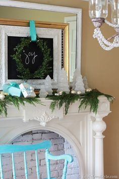 Christmas Mantel Decorating idea using thrift store jars and greenery from your yard. | In My Own Style