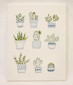 embroidery wall art / hoop art / handmade cross stitch / needlework / home decor / flower plant / botanical print / illustrations / herbarium