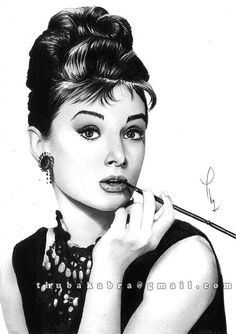 Audrey Hepburn PRINT of original pencil by DrawingIllustration