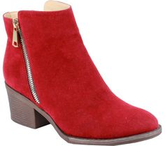 Reneeze Pama-01 Stacked Heel Ankle Boot - Red PU - FREE Shipping & Exchanges   Shoebuy.com