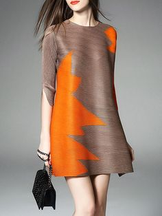 Brown Crew Neck Half sleeve Shift Simple Ribbed Color-block Mini Dress