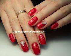 Red gel polish nail art manicure Glitter rhinestones