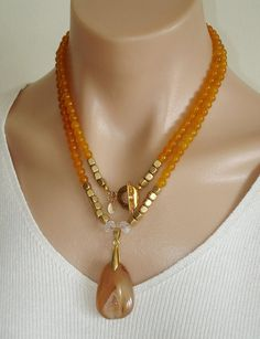 Ashira Golden Yellow Jade Gemstone Necklace and Hand Selected Soft Carnelian Druzy Pendant with Gold Filled Toggle