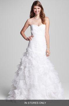 OBSESSED with this wedding dress > BLISS Monique Lhuillier Ruffled Organza Mermaid Dress #weddingdresses #wedding #weddingdress